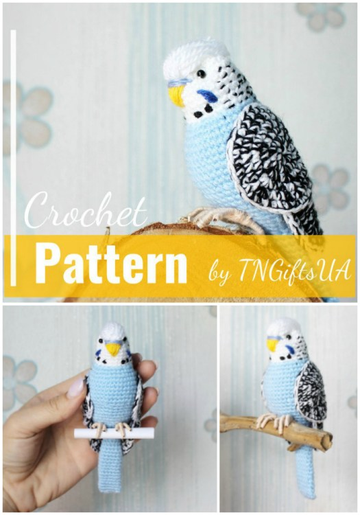 Beautiful budgie amigurumi crochet pattern! Wow! This is such a beautiful looking bird crochet pattern! So amazing! #crochetpattern #amigurumipattern #crochetbird #yarn #crafts #crochet #pattern #amigurumi #putabirdonit