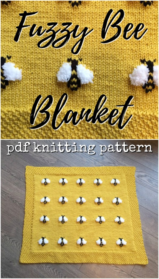 Adorable knitting pattern for this cute little Fuzzy Bee Blanket! This would make a great baby shower gift! #knittingpattern #knitting #pattern #babyblanketpattern #babyblanket #bees #craftevangelist