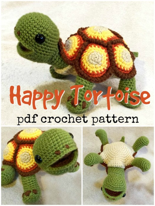 Sweet and adorable Happy Tortoise amigurumi crochet pattern! How cute is he? Oh I love him! Perfect little turtle toy crochet pattern! #amigurumipattern #crochetpattern #crochettoys #amigurumi #crochet #pattern #yarn #crafts #diytoys #craftevangelist