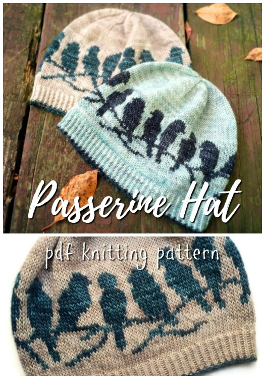 Beautiful knitting pattern for bird adorned knit hat. Love these birds on a branch on this lovely beanie! Great looking knitting pattern! #knitting #pattern #knit #knittingpattern #beanie #knitbeanie #beaniepattern #knitbeaniepattern #birdhat #bird #hat #toque yarn #crafts