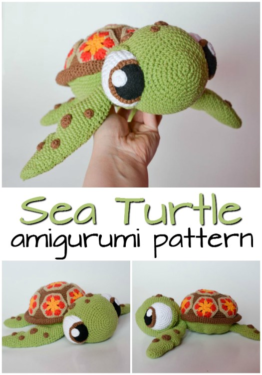 Adorable Squirt the turtle-inspired crochet pattern looks just like the turtle from Finding Nemo! Love this amigurumi pattern! So adorable! #crochet #amigurumi #pattern #amigurumipattern #crochetpattern #yarn #crafts #craftevangelist