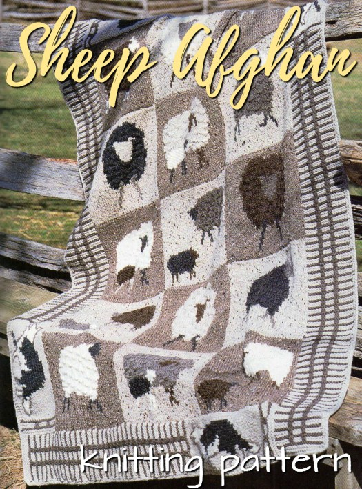 Fun knitting pattern for this adorable sheep afghan. Watch out for the wolves in the corners! #knitting #pattern #sheep #lambs #blanket #knittingpattern #knitblanket #knitthrow #crafts #yarn #craftevangelist