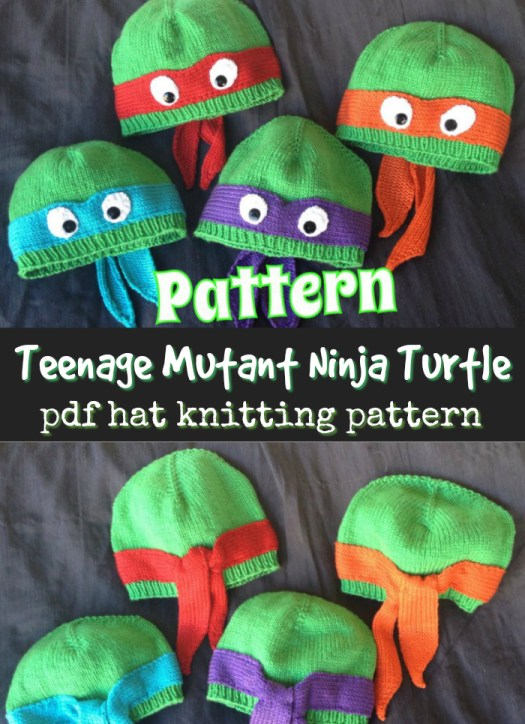 Teenage Mutant Ninja Turtle hats! What a fun idea! Great little knitting pattern for these adorable beanies! #knitting #knittingpattern #pattern #knithat #hatpattern #yarn #crafts #craftevangelist