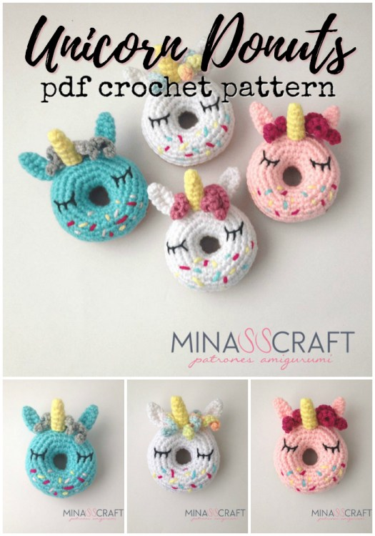 Sweet little crocheted unicorn donuts crochet pattern! How fun are these! What a whimsical little handmade gift idea! #crochet #crochetpattern #amigurumi #amigurumidonuts #unicorns #unicorndonuts #yarn #crafts #craftevangelist
