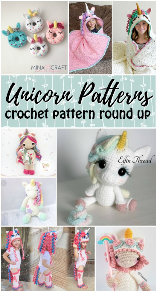 Crochet Unicorn Pattern round up! Eleven great unicorn crochet patterns to make, from bookmarks to donuts, to dolls, hats, cushions and blankets! Fun! #unicorns #crochet #pattern #amigurumi #amigurumipattern #crochetpattern #patternroundup #craftevangelist