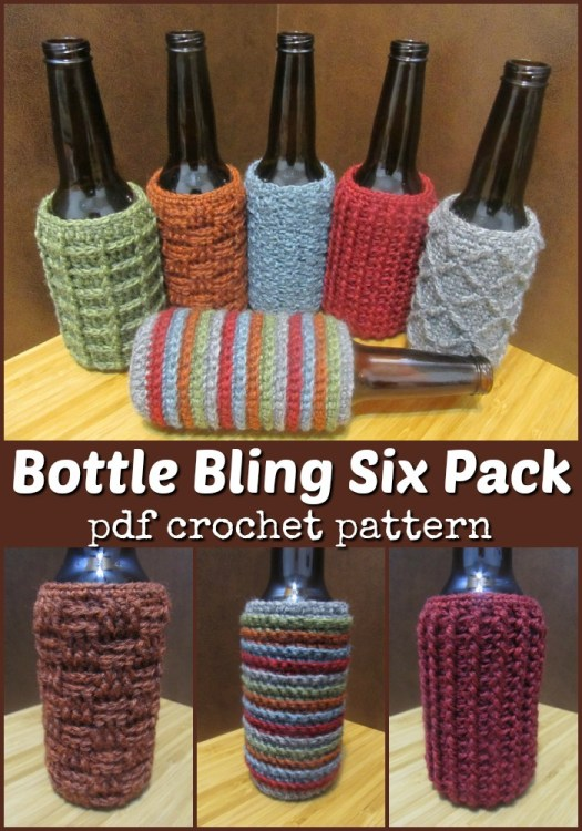 Six different crochet beer bottle cozy patterns! Love the different textures. Great to use for a party to battle bottle sweat and to identify whose is whose! #crochet #crochetpattern #pattern #patternpack #bottlecozy #yarn #crafts #handmadegifts #giftsformen #crochetformen #craftevangelist #FathersDay
