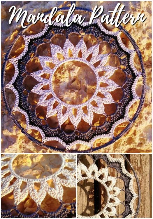 Lovely wall hanging crochet mandala pattern! Love this gorgeous boho inspired mandala! Would make a great wall hanging or a gift! #crochet #pattern #yarn #crafts #crochetpattern #mandala #wallhanging #mandalapattern #etsy #craftevangelist