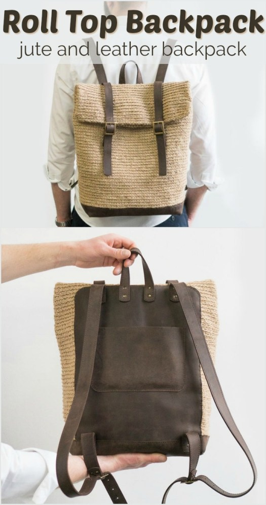 I love this fantastic masculine Roll Top Backpack made of jute and leather. Made to order, it's crocheted!!! How fantastic is that?@! Would make a great Father's Day gift! #crochet #yarn #crafts #handmade #handmadegifts #giftsformen #crochetformen #craftevangelist