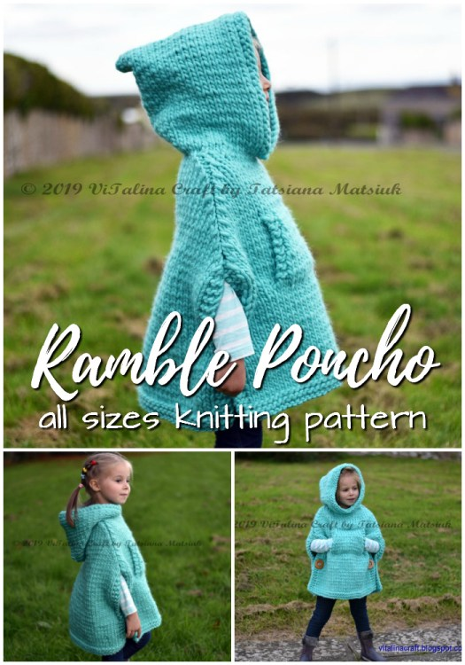 Charming poncho knitting pattern in sizes infant to adult XL. Love this gorgeous hooded poncho! Perfect for fall! #knittingpattern #knitpattern #knitponcho #knitclothes #yarn #crafts #hoodedponcho #craftevangelist