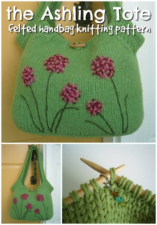 Fetching felted handbag knitting pattern! The Ashling Tote is a lovely hand-knitting pattern, felted and embroidered! I love all those things! What's not to love?! #knittingpattern #handbag #pattern #yarn #crafts #knittote #craftevangelist