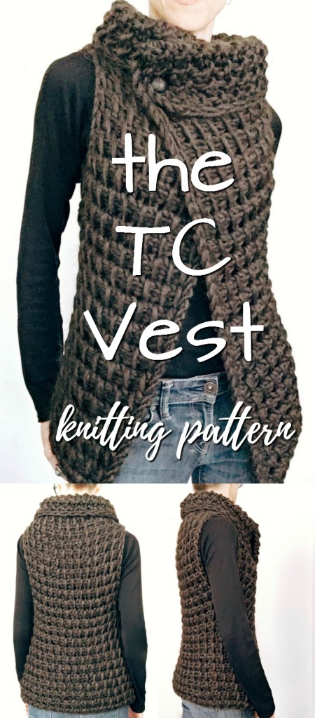 Knitting pattern for this chunky fall vest. It was designed to look like a similar Tunisian crochet pattern! I love this! It looks so great with a long sleeved tee! #knittingpattern #knitvest #knitting #pattern #yarn #crafts #craftevangelist