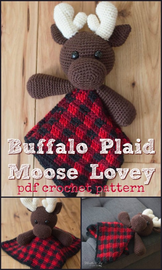 Buffalo Plaid Moose Lovey crochet pattern! Love this fun plaid crochet pattern! #yarn #crafts #amigurumi #stuffedanimal #handmade #crochetstuffedanimal #crochetpattern #crochet #lovey #babyblanket #craftevangelist #canadian