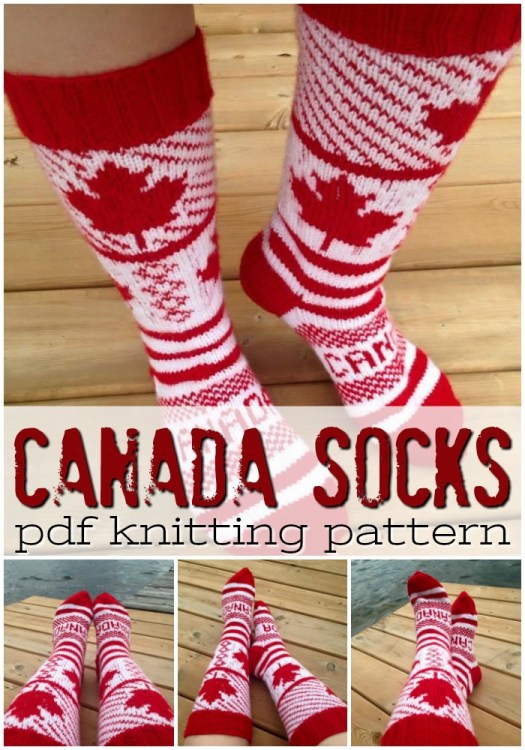 Love these bright and fun patterned maple leaf Canada knee-high socks knitting pattern! Perfect for Canada day or curling! Very festive! #canadaday #knitting #knittingpattern #yarn #crafts #knitsocks #sockspattern #craftevangelist