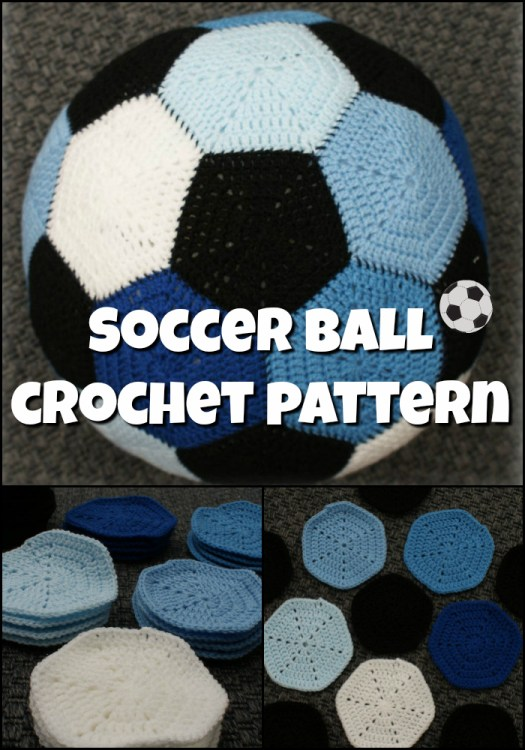 Soccer Ball Crochet pattern. Love the multiple colours! Fun stuffed toy amigurumi crochet pattern for soccer lovers. #crochetpattern #amigurumi #yarn #crafts #soccer #soccercrafts #crochet #pattern #craftevangelist