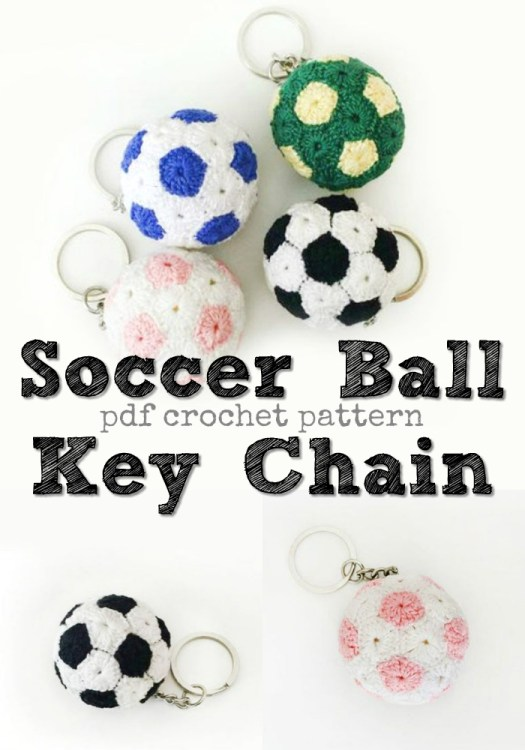 Perfect beginner pattern with loads of pictures and helpful instructions to make this cute and simple mini crochet soccer ball key chain! Would make a great zipper pull, too! #crochet #pattern #amigurumi #amigurumipattern #crochetpattern #yarn #crafts #soccer #keychain #handmade #craftevangelist #pdf #download #instant