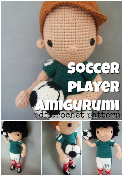 Soccer Player Amigurumi crochet pattern! This handmade stuffed toy pattern would make a great handmade gift idea for the soccer fanatic in your life! #crochetpattern #amigurumipattern #amigurumi #crochet #pattern #yarn #crafts #soccer #soccercrafts #craftevangelist