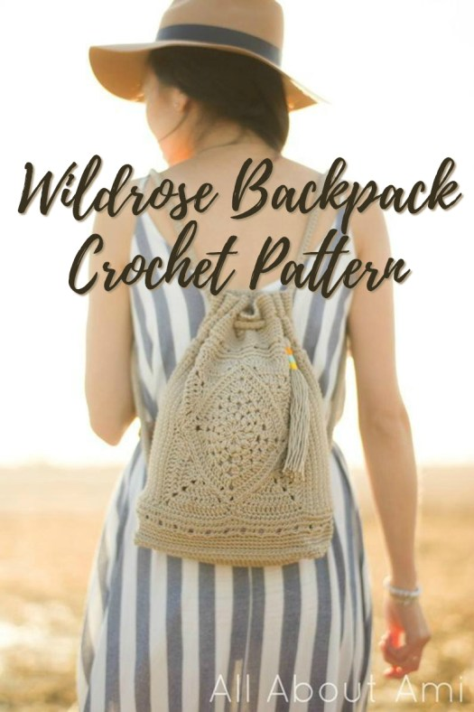 Beautiful Wildrose Backpack Crochet pattern! This drawstring bag is just the right size to take around the city with you on vacation! Love this gorgeous pattern! #crochet #crochetpattern #crochetbackpack #allaboutami #yarn #crafts #craftevangelist