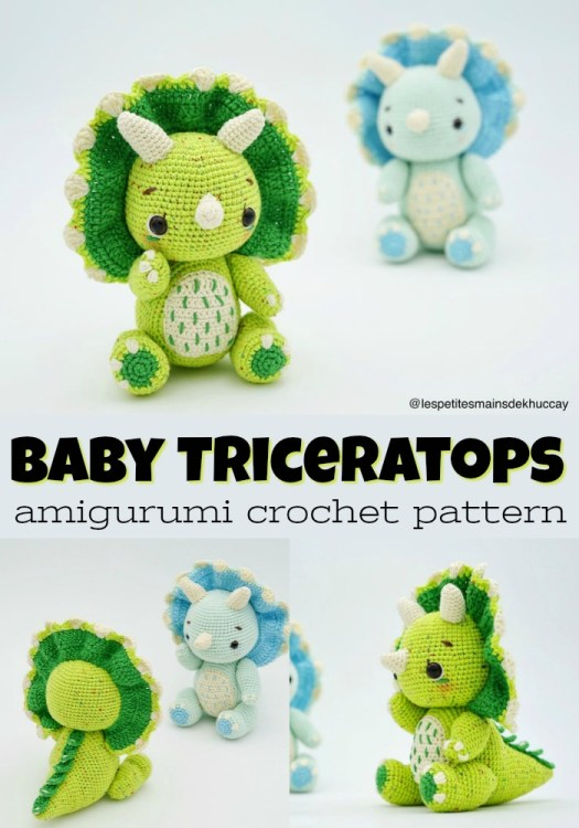 Super sweet and adorable baby triceratops crochet amigurumi pattern! Perfect handmade gift idea for a kid! Love it! #crochetpattern #amigurumipattern#yarn #crafts #craftevangelist