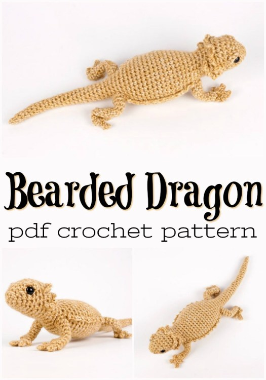 Super adorable lizard crochet pattern to make a realistic Bearded Dragon amigurumi stuffed toy! Love these kinds of handmade pets! #amigurumipattern #crochetpattern #yarn #crafts #craftevangelist