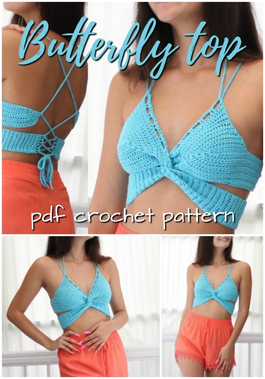 Super simple and sexy strappy butterfly top crochet pattern! Love this sexy summer beach top! So easy to make, Great pattern for beginners! #crochetpattern #crochet #pattern #yarn #crafts #crochethalter #haltertop #bralette #crochetforwomen #craftevangelist