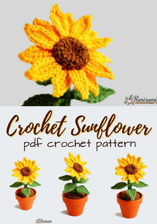 Crochet potted sunflower crochet pattern