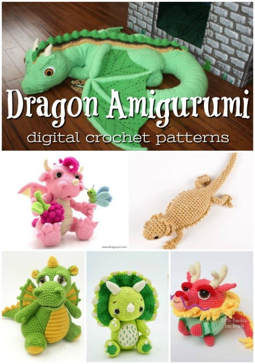 Dragon Amigurumi Crochet patterns to make from downloadable digital pdf crochet patterns! Gorgeous stuffed toy patterns! #amigurumipattern #crochetpattern #crochettoys #yarn #crafts #craftevangelist