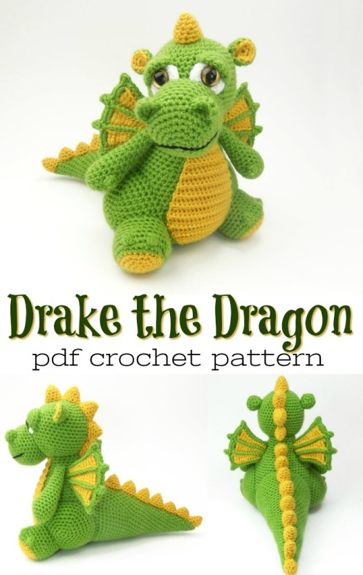 Super cute and detailed crochet pattern for this adorable dragon amigurumi pattern! Drake the Dragon would make the perfect handmade crocheted gift for any dragon loving child! #amigurumipattern #crochetpattern #yarn #crafts #craftevangelist