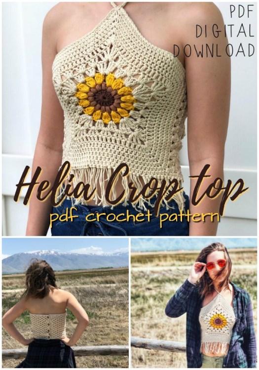Sunflower crochet crop top bikini top crochet pattern