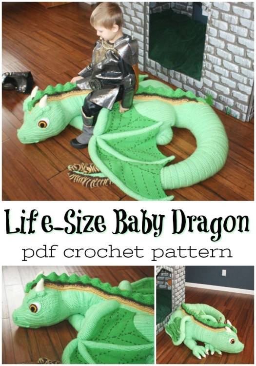 Wow! What an amazing life sized baby dragon amigurumi crochet pattern! MY KID WOULD LOVE THIS! So awesome! #amigurumipattern #crochetpattern #crochetgianttoys #giantcrochet #yarn #crafts #amigurumi #craftevangelist