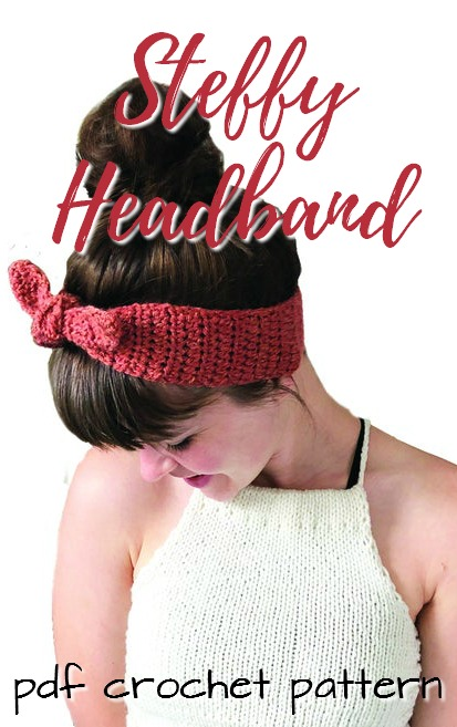 Cute and simple crocheted headband pattern. The Steffy headband is a perfect summer project to keep your hair out of your face in the hot months, but also to make on the go! Great stash-busting project! #crochetpattern #crochetheadband #yarn #crafts #crochet #pattern #craftevangelist