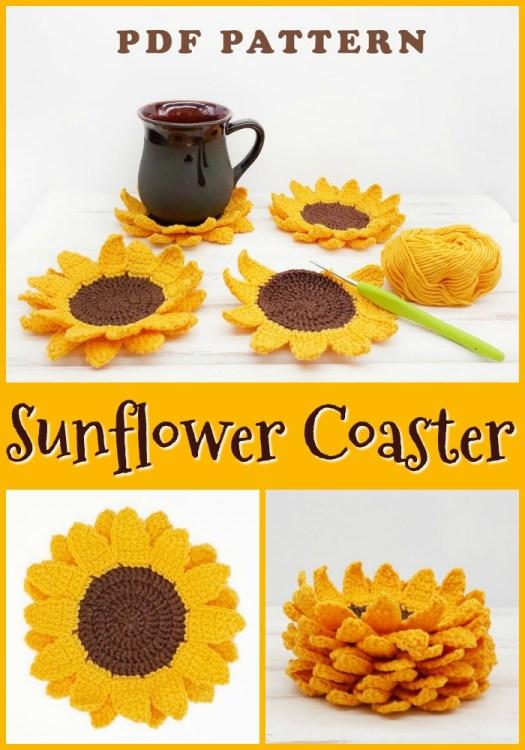 Sunflower coaster crochet pattern