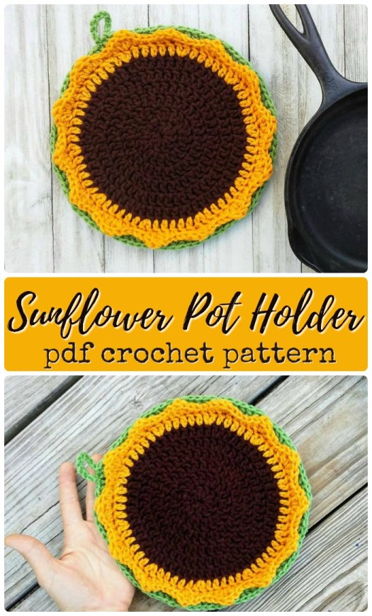 Sunflower pot holder crochet pattern
