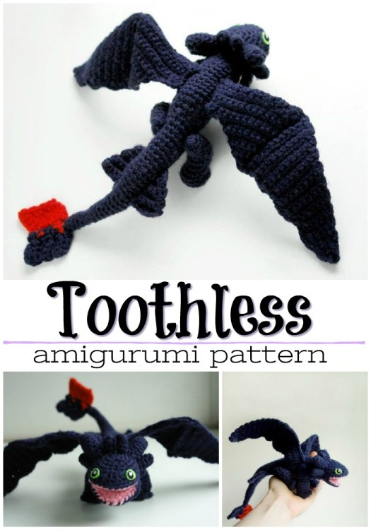 Adorable Amigurumi Crochet pattern for Toothless the Dragon from How to Train Your Dragon! So fun! My kids would love this! #amigurumipattern #crochetpattern #yarn #crafts #craftevangelist