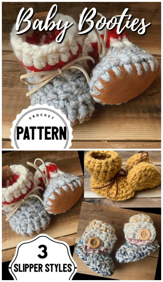 Adorable chunky baby booties crochet pattern with suede soles. This pattern comes with three different crochet baby slipper styles! #crochetpattern #crochetslippers #crochetbooties #crochetbabybooties #yarn #crafts #craftevangelist
