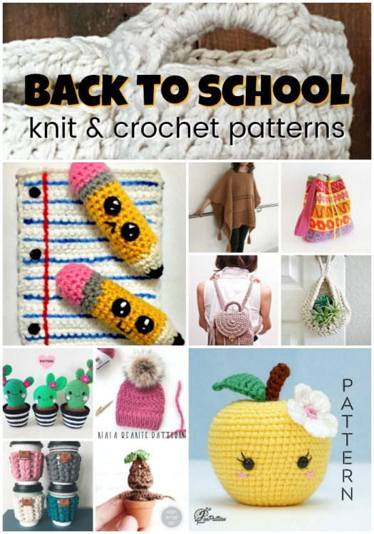 A great collection of back to school knit and crochet patterns. I love the adorable pencils! #crochet #knit #patterns #maker #yarn #crafts #craftevangelist #backtoschool