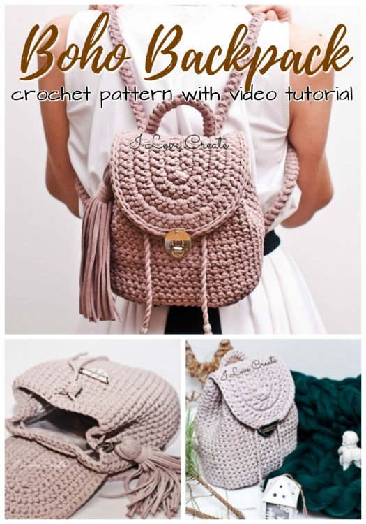 Beautiful little crochet backpack pattern. I love this adorable, but not over the top boho style backpack crochet pattern! #crochet #pattern #crochetpattern #backpackpattern #crochetbackpack #yarn #crafts #craftevangelist