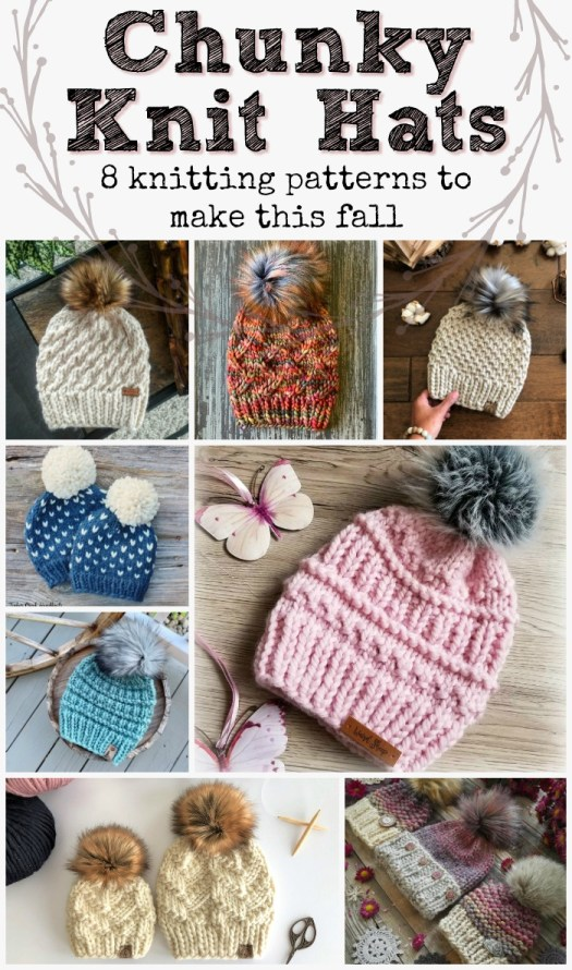 8 gorgeous knitting patterns made with super bulky yarn. These hats all knit up in an hour or two! Super great market hat ideas, or great gift ideas! Love these chunky knit hat patterns!