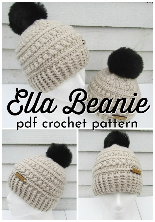 The Ella Beanie is a beautiful crocheted textured beanie pattern. This winter hat pattern is the perfect handmade gift idea! Love it! #crochetpattern #crochet #crochethat #hatpattern #pattern #yarn #crafts