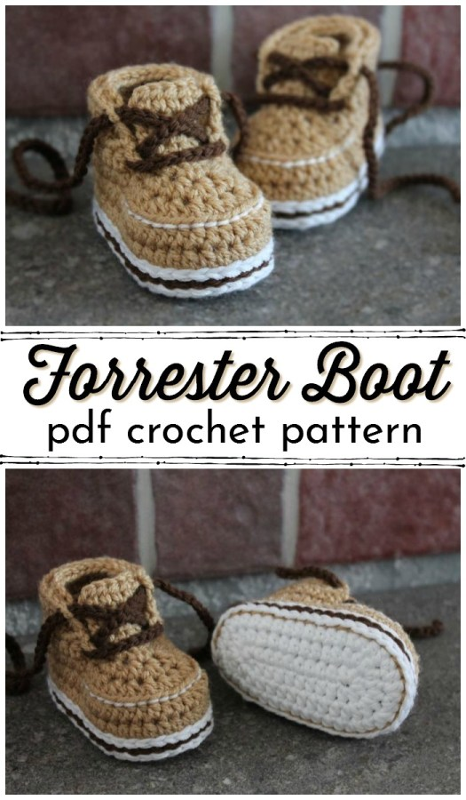 Crochet baby hiking boot pattern! How adorable are these baby slippers?! #crochetpattern #babybooties #babyslippers #crochetslippers #crochetbooties #yarn #crafts #crochet #craftevangelist