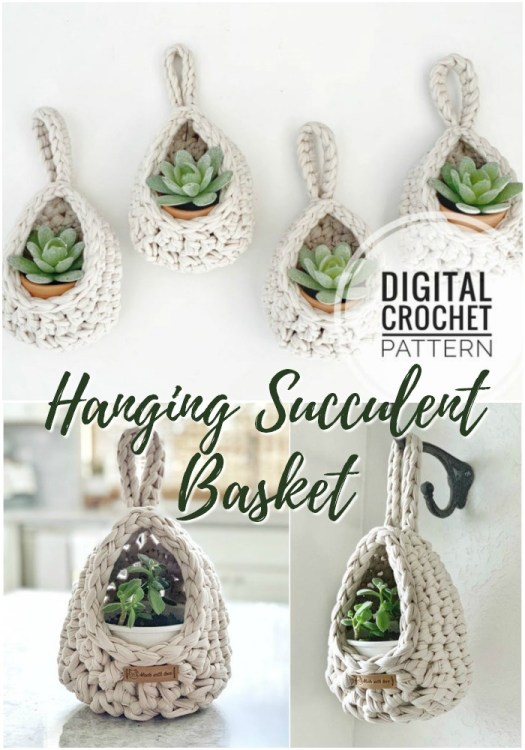 Super cute and quick hanging basket crochet pattern, perfect for succulents or air plants! I love these in this natural thick cotton t-shirt yarn! Easy quick stash-busting project! #crochetpattern #crochet #yarn #crafts #craftevangelist #crochetbasket #crochethomedecor