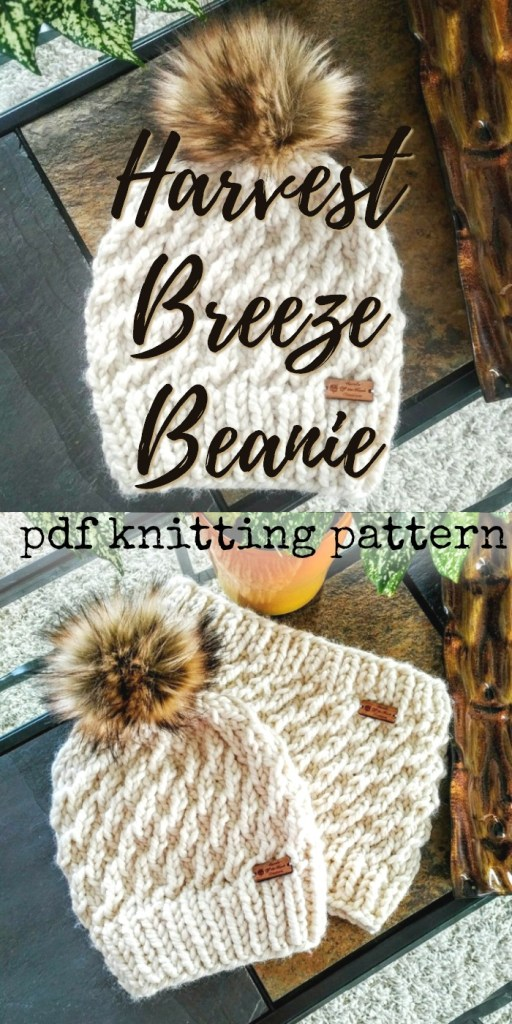 Beautiful textured Harvest Breeze Beanie knitting pattern, made with super bulky yarn, this gorgeous winter hat pattern knits up quickly; top it off with a large faux fur pompom for a super trendy hat. #knitting #knittingpattern #knithat #knithatpattern #quickknits #yarn #crafts #craftevangelist