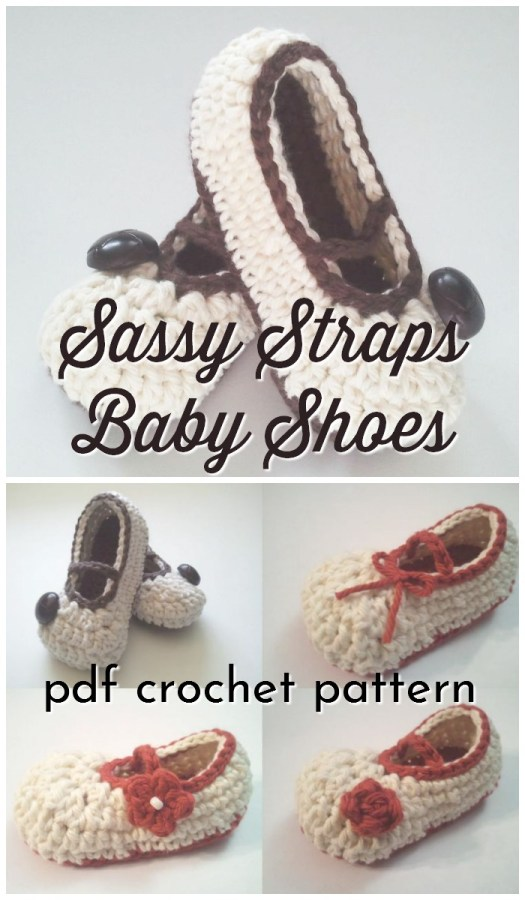 Sweet little ballet slipper baby crochet pattern with lovely little straps. This delicate crochet baby shoe pattern is so sweet for a little girl! #crochetpattern #crochetshoes #crochetbabyshoes #crochetbaby #babyslippers #babyshoes #babybooties #crochet #pattern #crafts #yarn #craftevangelist