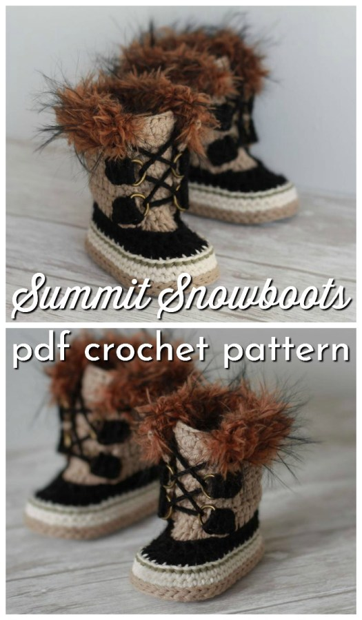 Super adorable Sorel-style furry crochet Summit Snow boot pattern for baby! These look just like Sorels! What a fun pattern and they look super warm! #crochetpattern #crochetboots #yarn #crafts #babybooties #babyboots #babyshoes #crochetbabyshoes #crochetslippers #craftevangelist