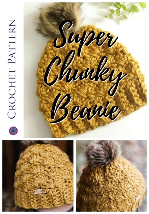 I love the shell stitch on this chunky textured crochet beanie pattern. Love the super chunky hats for fall! I can't wait to make one in the gorgeous mustard colour! #hatpattern #crochethat #crochetpattern #crochet #pattern #yarn #crafts #craftevangelist