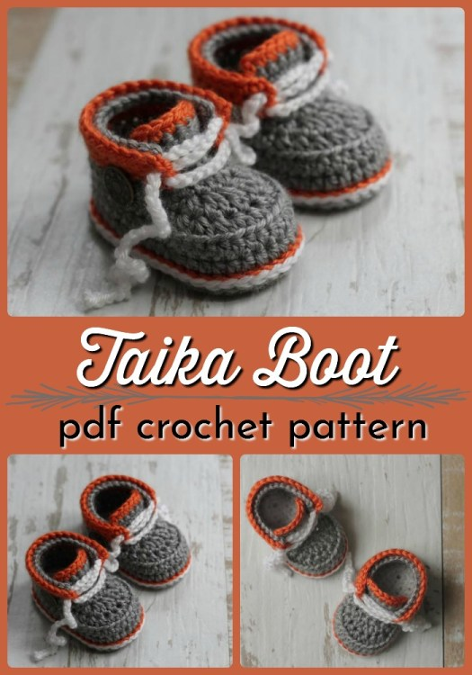 Sweet little Taika Boot crochet baby hiking boot pattern. I love these sweet little booties! Perfect handmade baby shower gift! #crochetpattern #crochetbabybooties #crochetbooties #crochetslippers #yarn #crafts #craftevangelist