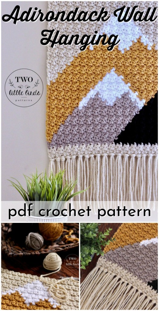 Gorgeous simple mountain scene crochet pattern in the this Adirondack Wall hanging crochet pattern! I'm going to make this for my living room! #crochetwallhanging #bohowallhanging #macrame #macramewallhanging #crochetwalldecor #crochetpattern #craftevangelist