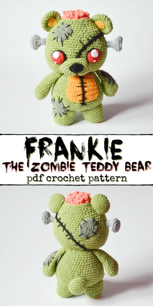 How adorable is this creepy and cute zombie teddy bear crochet pattern?! I love this kind of amigurumi, perfect handmade gift for older kids or teenagers! #crochetpattern #zombies #halloweencrochet #amigurumipattern #yarn #crafts #craftevangelist