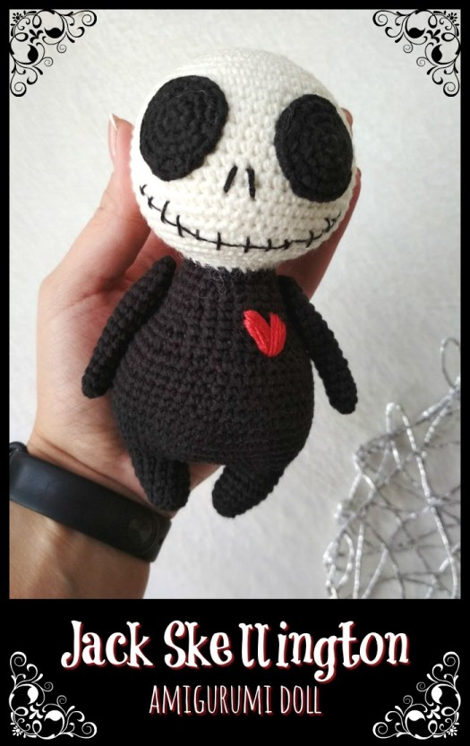 Check out this sweet little Jack Skellington doll! Perfect little baby Jack Skellington. My kid would love this! #crochetpattern #thenightmarebeforechristmas #halloweencrochet #amigurumipattern #yarn #crafts #craftevangelist