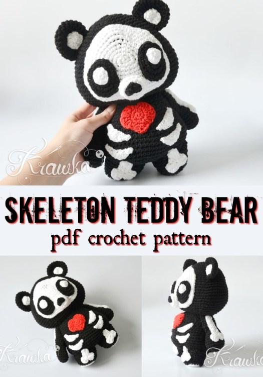 Adorable skeleton teddy bear crochet amigurumi pattern! How sweet is this scary little bear? #crochetpattern  #halloweencrochet #amigurumipattern #yarn #crafts #craftevangelist