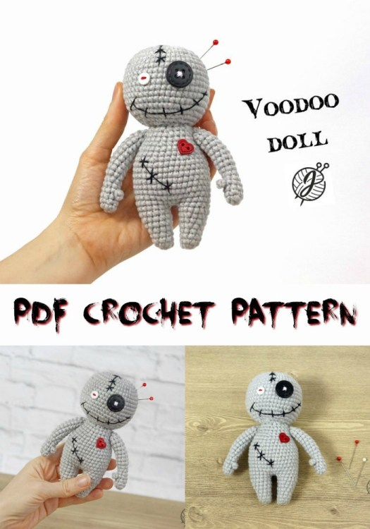 Cute little voodoo doll amigurumi crochet pattern. Would make a fun pincushion! #crochetpattern #zombies #halloweencrochet #amigurumipattern #yarn #crafts #craftevangelist